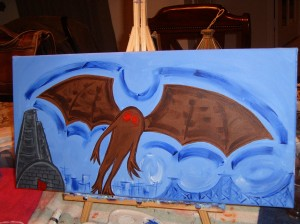 painting-mothman